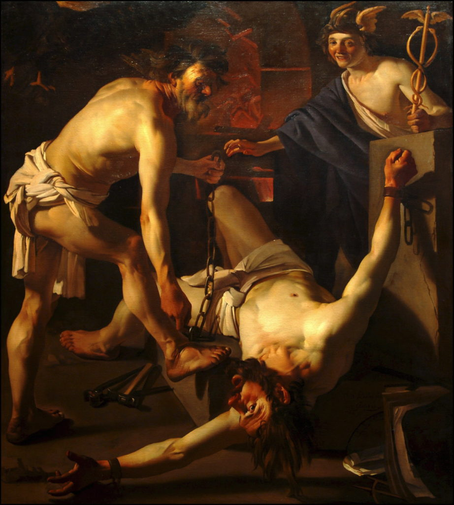 'Prometheus Chained by Vulcan' (1623); Oil On Canvas by Dirck Van Baburen (Photo by Francis DEMANGE/Gamma-Rapho via Getty Images)